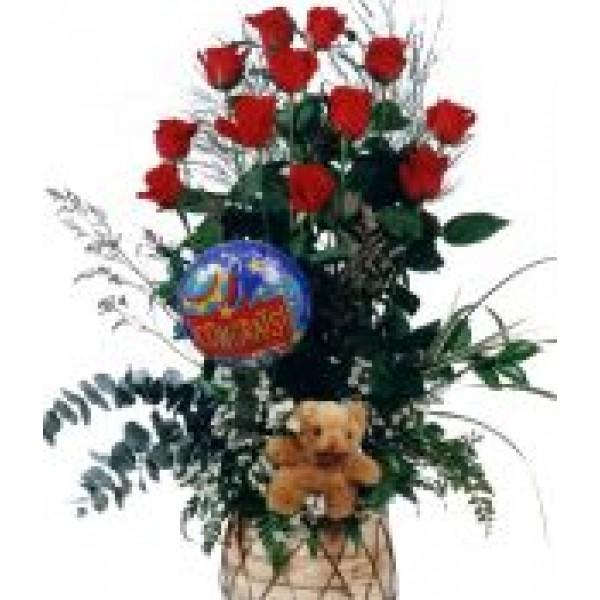 Congrats Balloon, Bear & Roses in a Basket 72048