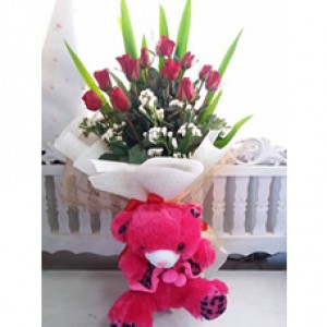 Valentine Bouquet with Bear